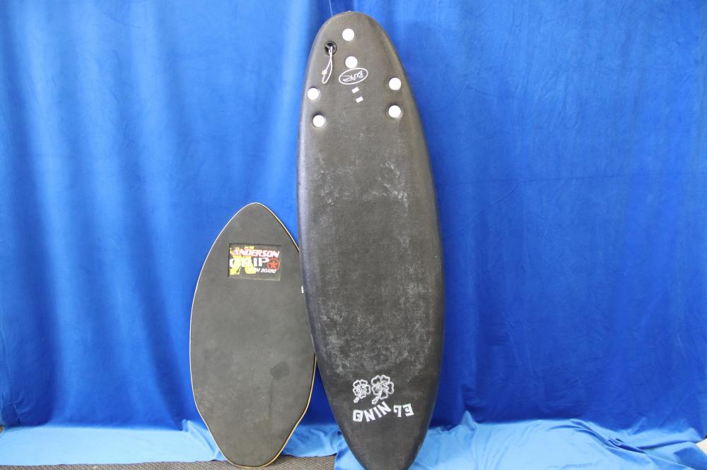 BLITZ KIDS LEARNERS SURF BOARD & AN ANDERSON GRIP SKIM BOARD