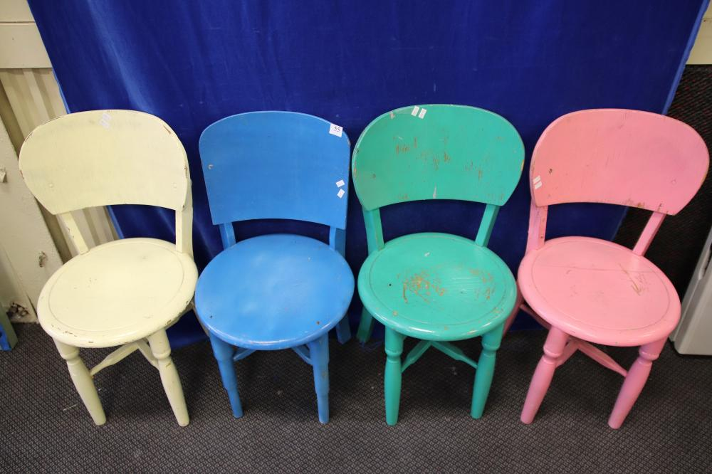4 KIDS PAINTED TIMBER CHAIRS