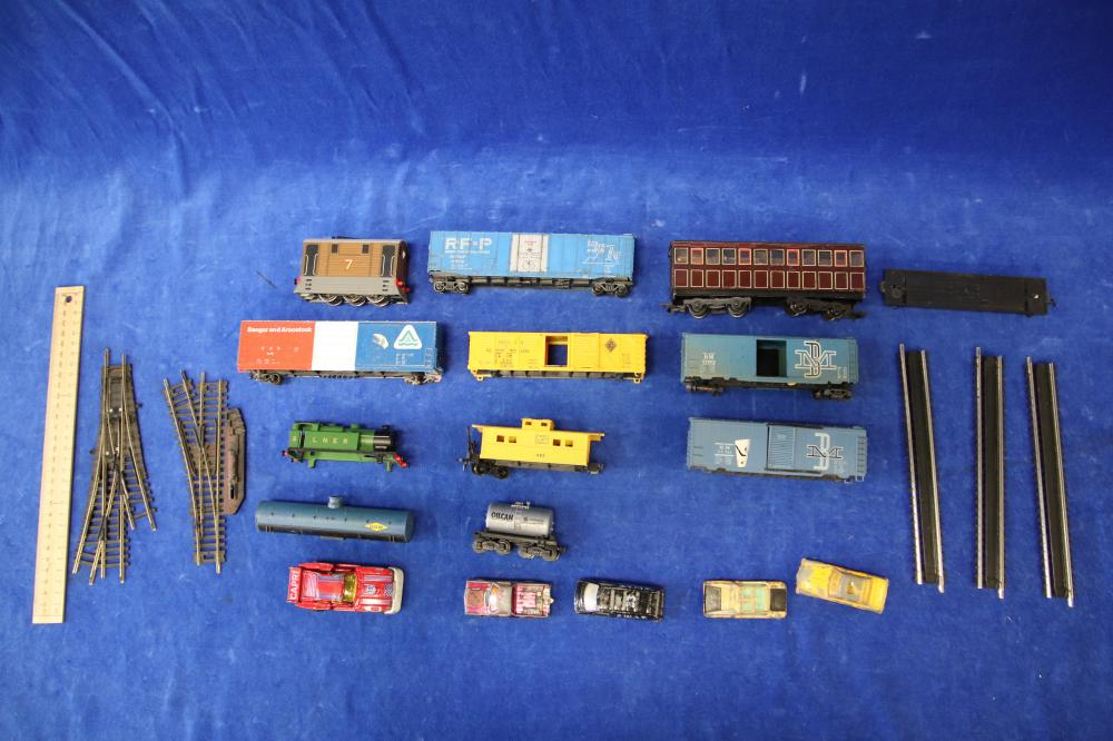 BOX OF TOY TRAINS & CARS