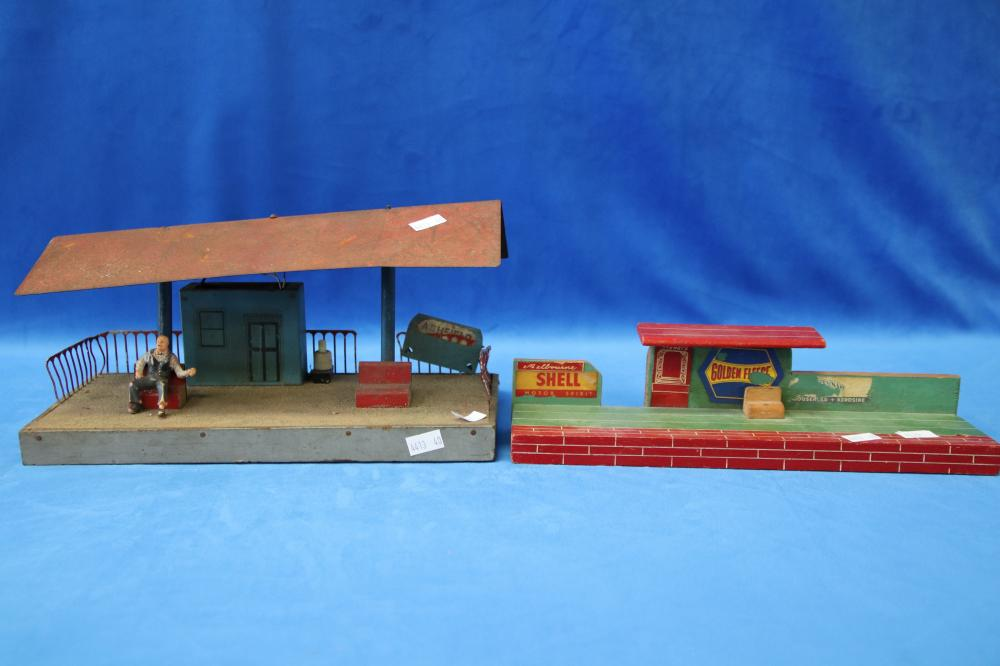2 X C1940'S VILLAGE AUST WOODEN TOY TRAIN STATION