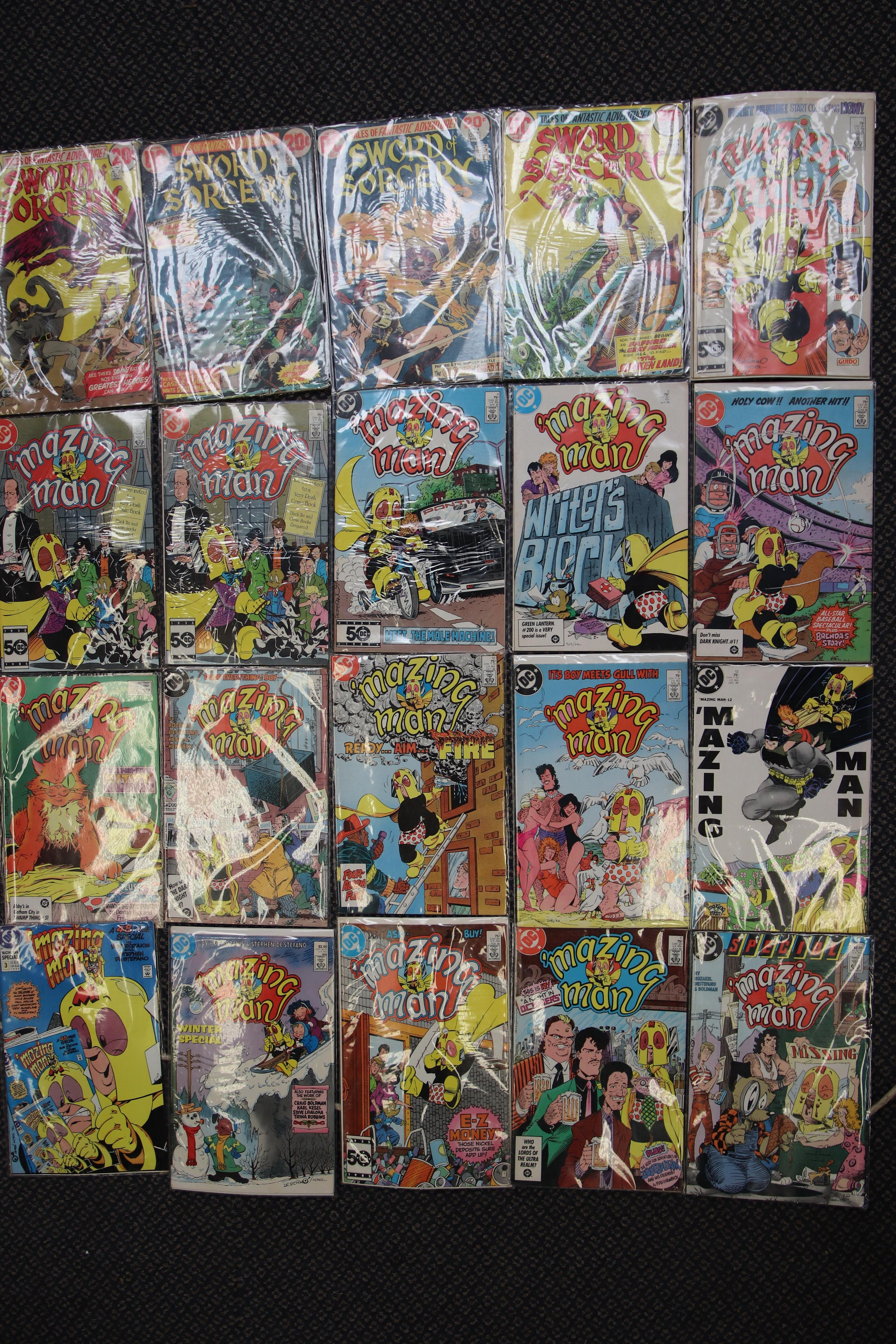 SELECTION OF DC COMICS MAZING MAN & SWORD SORCERY 20 IN TOTAL
