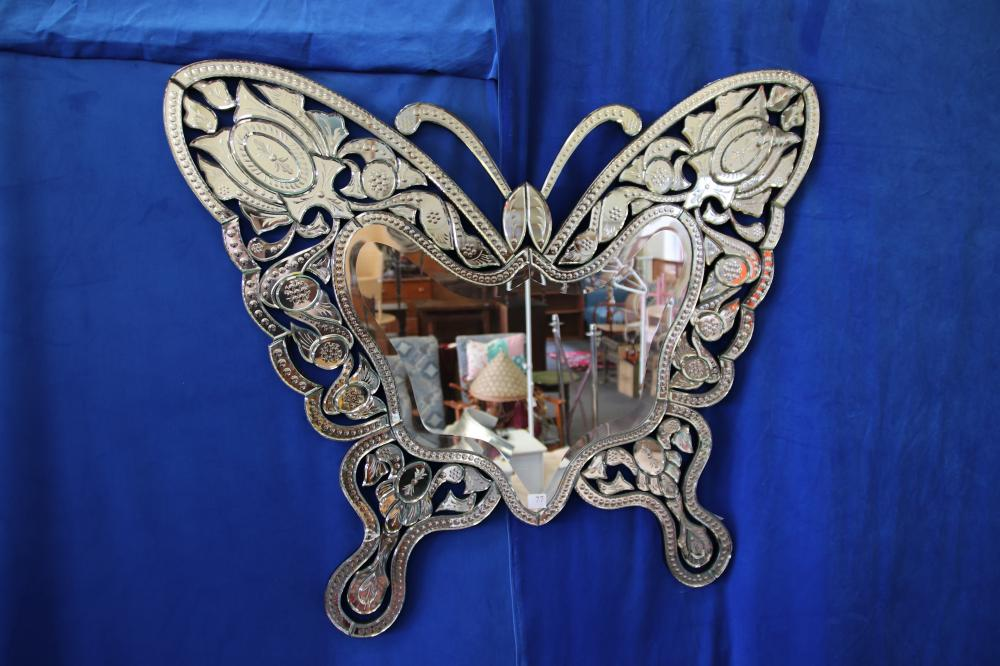 LARGE VENETIAN STYLE BUTTERFLY MIRROR, MINOR DAMAGE TO 1 PANEL