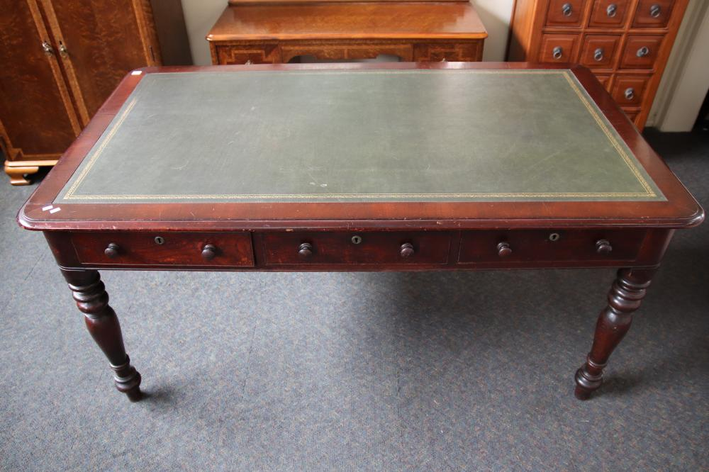 COLONIAL CEDAR PARTNERS DESK CEDAR, LEATHER TOP, PUNCH STAMPED TO 5 DRAWERS A LENEHAN, 6 DRAWERS, 4 FALSE DRAWERS TO EACH SHORT END, PROVENANCE SOTHEBY'S W1620MM H775MM D938MM