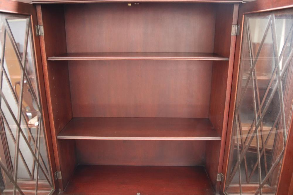 INLAID BREAKFRONT BOOKCASE WITH SECRETAIRE TOP 136W X 37D X200 H