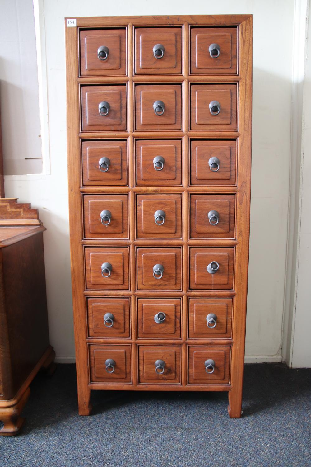 ORIENTAL 21 DRAWER CHEST OF DRAWERS, MEASURES W 648MM H1492MM D400MM
