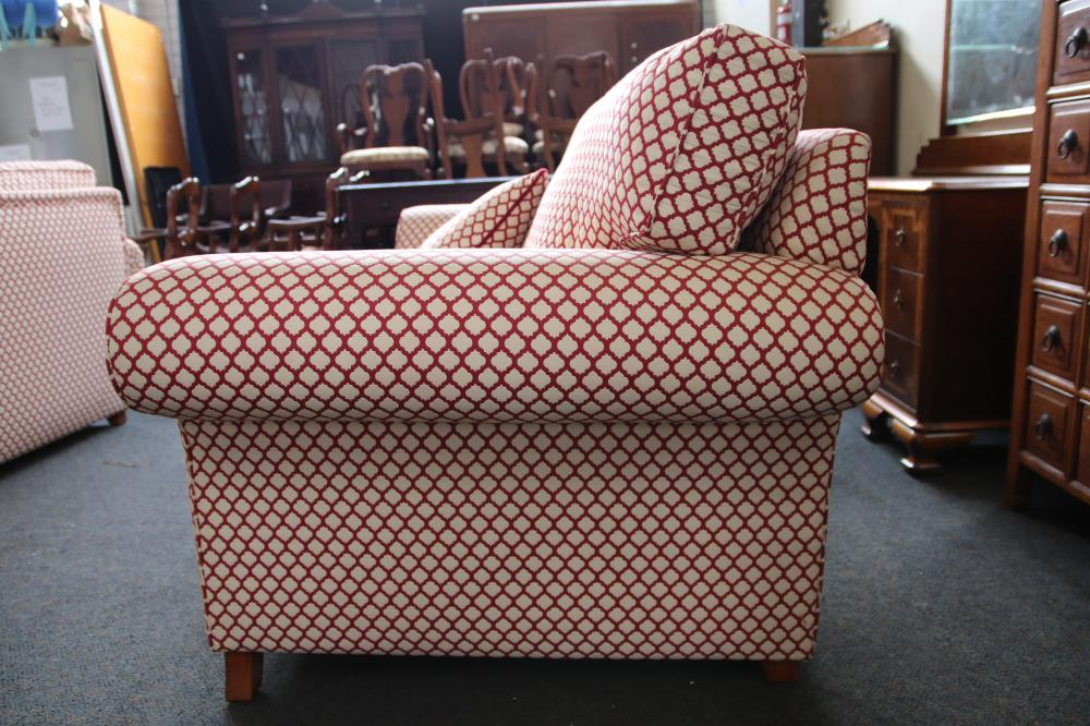 PAIR OF OVERSIZED FABRIC COVERED LOUNGES W2100 MM H850 MM D1110MM