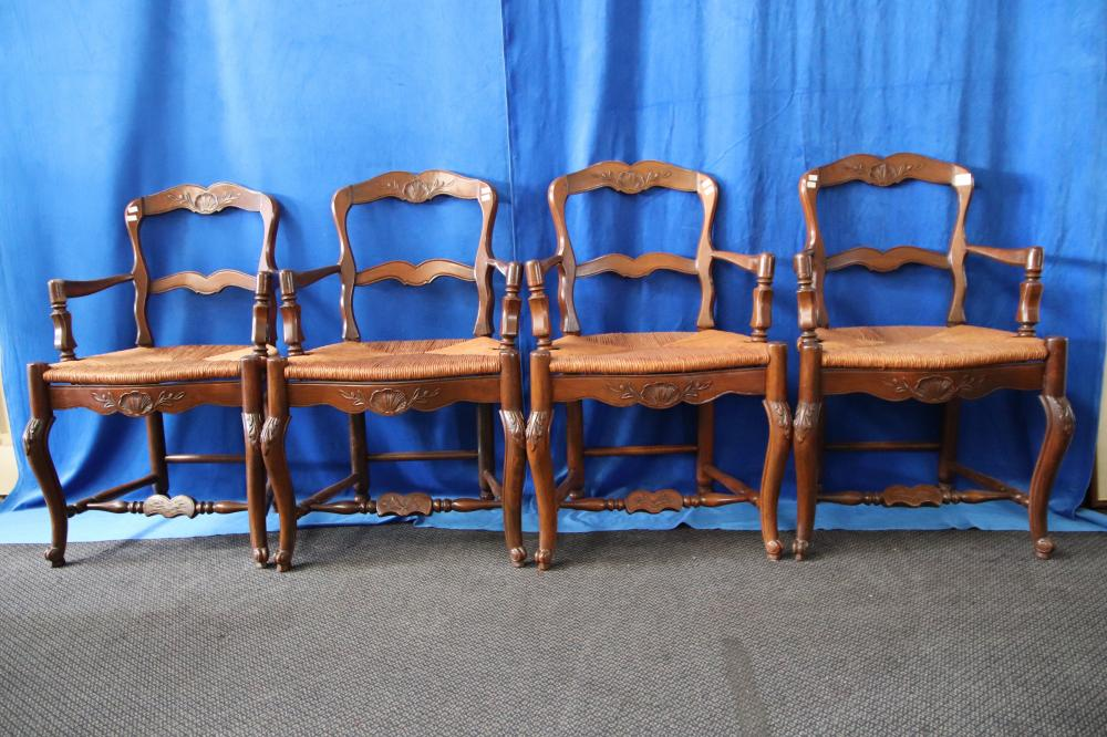 4 X FRENCH WALNUT AND RUSH CANE SEAT CARVER CHAIRS. PROVENANCE GRAHAM CORNALL ANTIQUES W 540MM H875MM D 435 MM