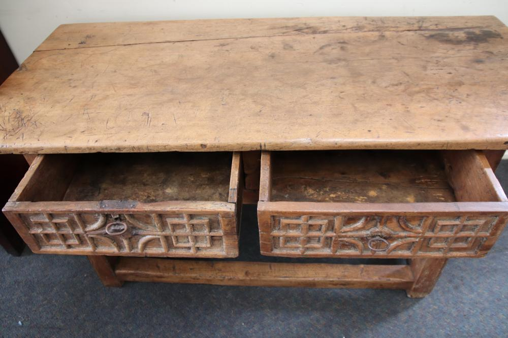 EARLY SPANISH WALNUT CONSOLE TABLE, 2 DRAWERS. PROVENANCE MOSS GREEN W1585MM H 790MM D 710MM
