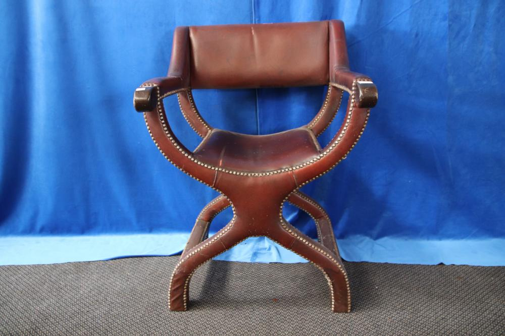 BROWN LEATHER COUNTRY THRONE CHAIR