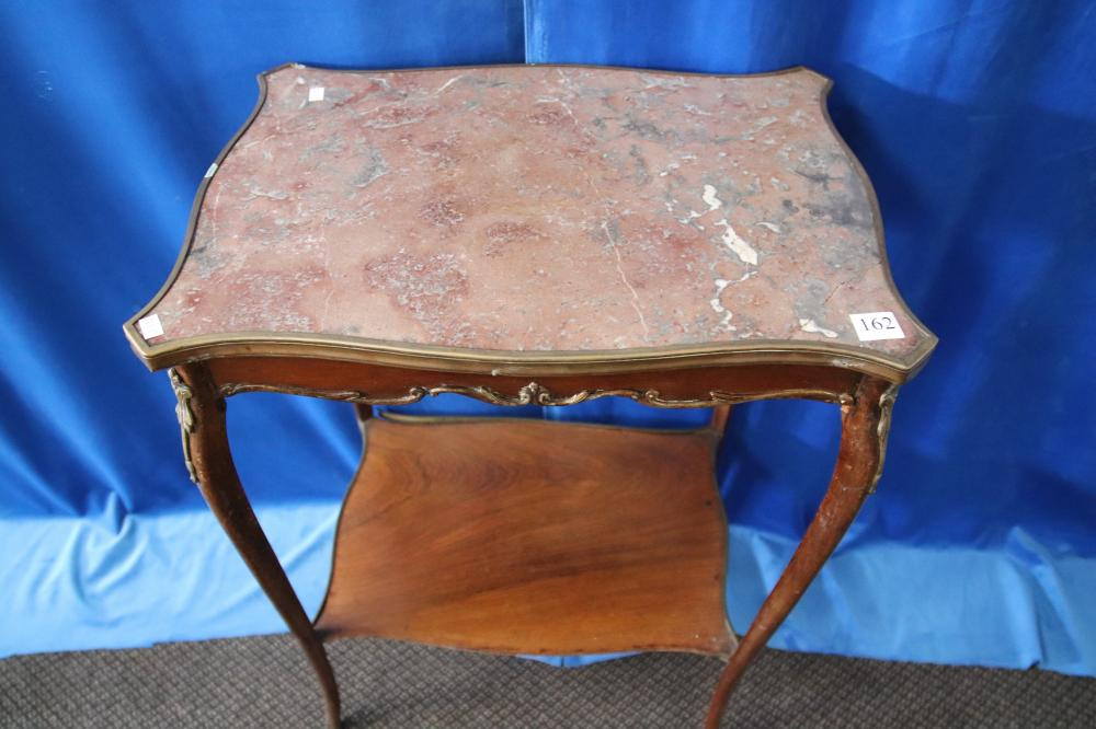 VICTORIAN FRENCH MARBLE TOP 2 TIER TABLES