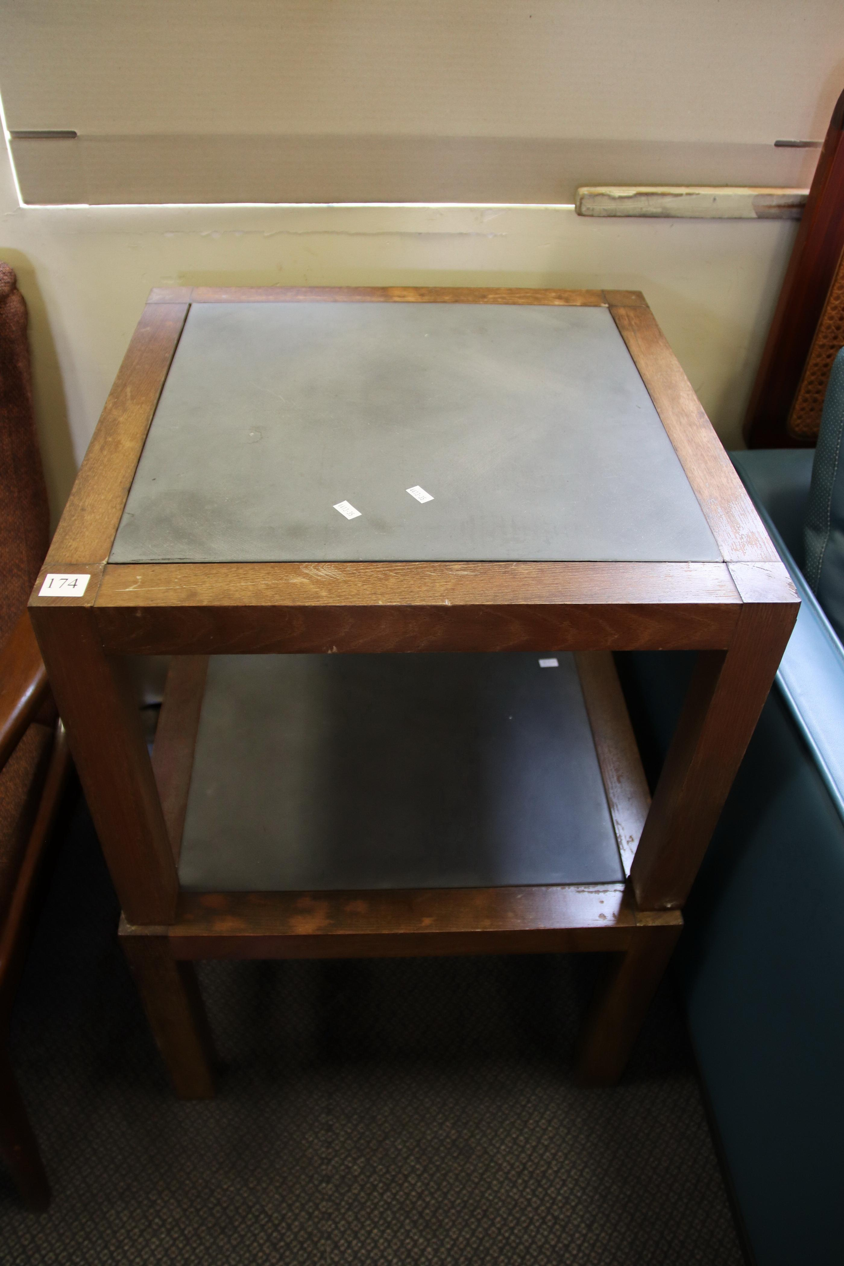 2 RETRO WOOD FRAME SIDE TABLES WITH CONCRETE INSERT TOPS
