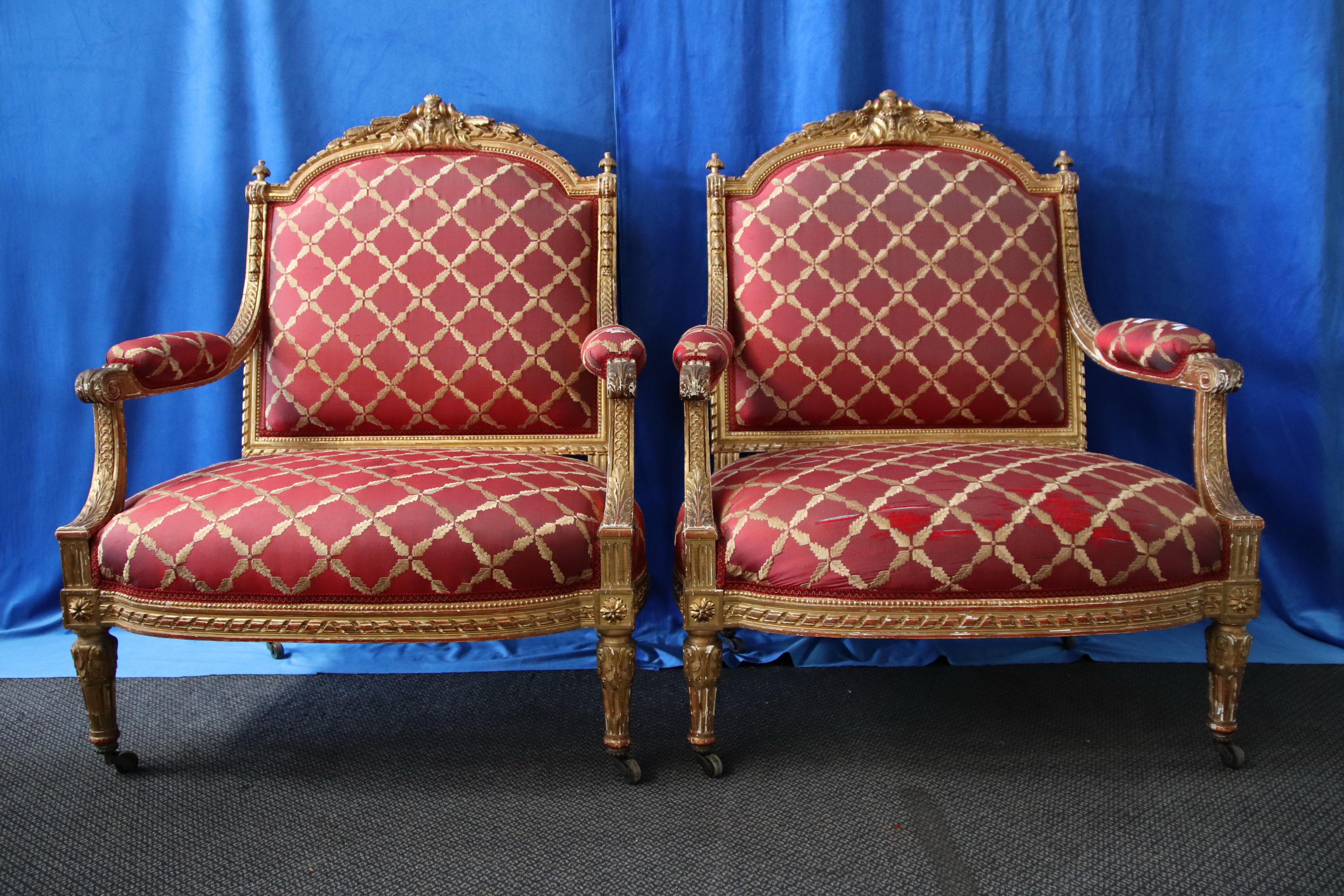 2 FRENCH GOLD GILT OVERSIZED ARM CHAIRS PROVENANCE MOSSGREEN W815MM H1070MM D590MM