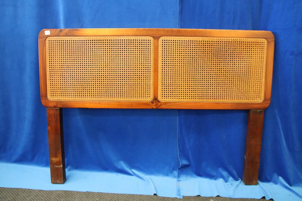 RETRO TIMBER & RATTAN DOUBLE BED HEAD