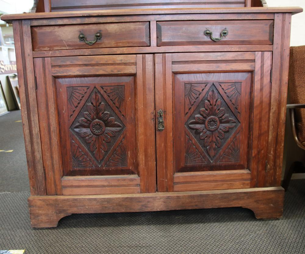 PINE SIDEBOARD WITH CARVED MIRROR BACK 2.2M HIGH , 1.2M WIDE