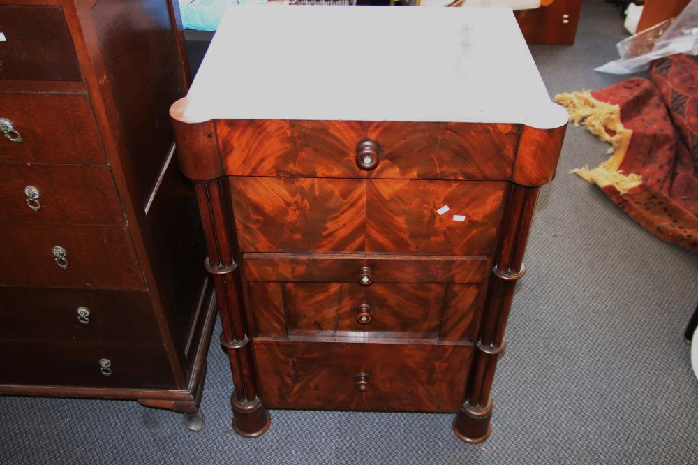 EUROPEAN BIEDERMEIER MAHOGANY WASHSTAND WITH 2 DRAWERS & LIFT TOP LID
