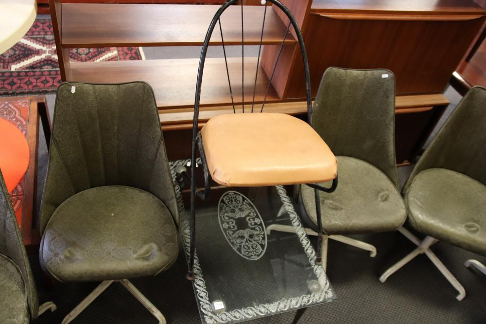 6 SWIVEL CHAIRS & 1 OTHER CHAIR & TABLE