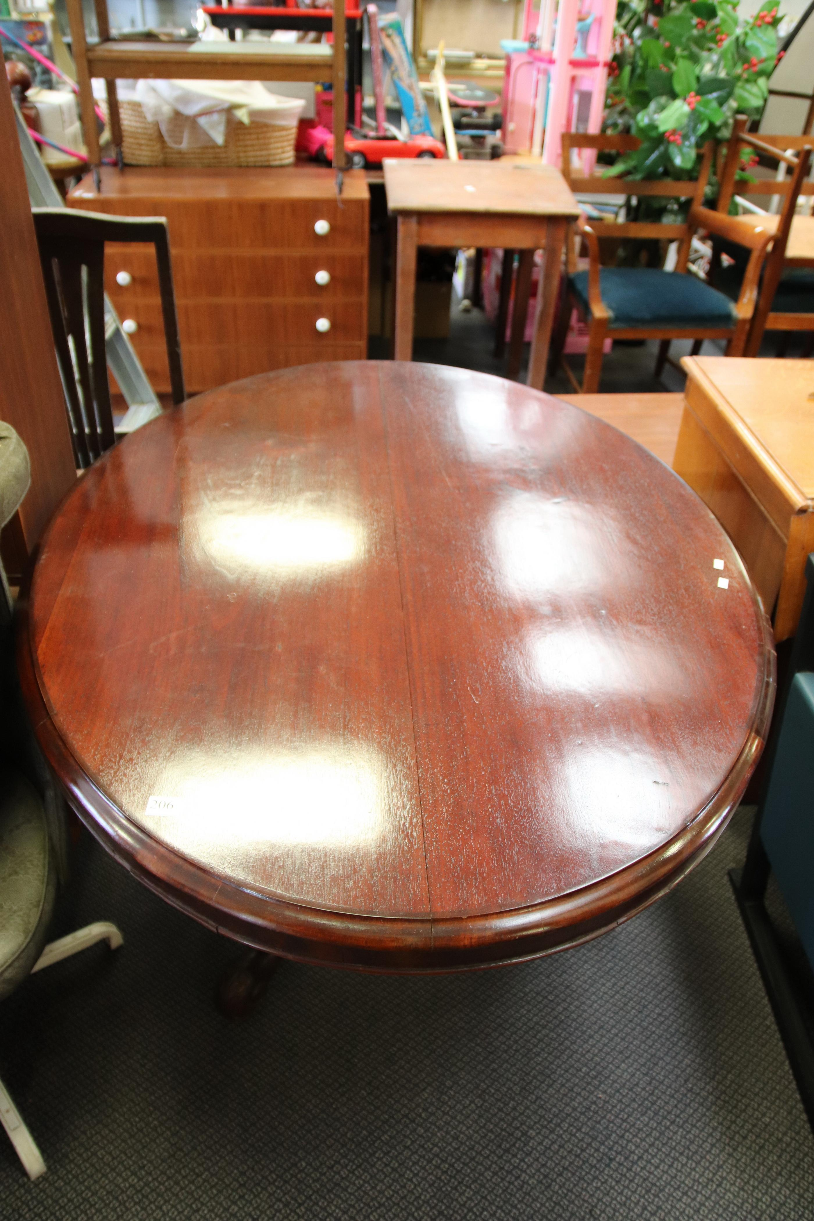 VICTORIAN MAHOGANY OVAL DINING TABLE 1.3M X 1M