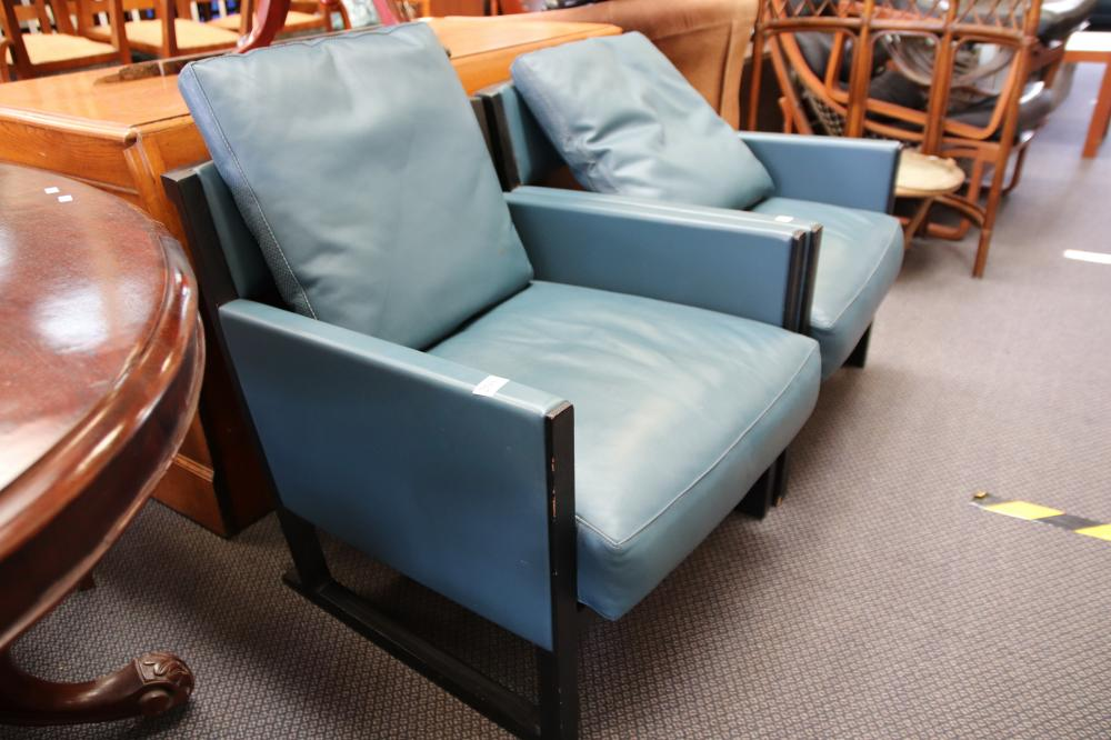 PAIR OF MATCHING DESIGNER SINGLE SEAT BLUE LEATHER CHAIRS