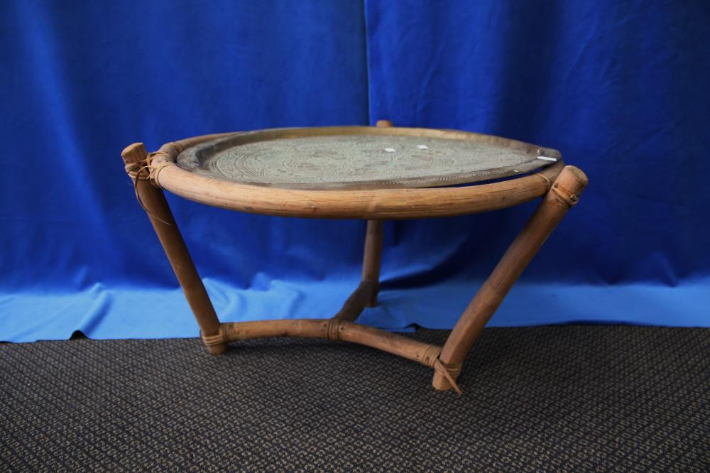 CANE & GLASS HALL TABLE/STAND & BRASS TOP SIDE TABLE