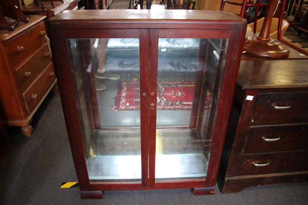 SMALL CHEST OF DRAWERS & A DISPLAY CABINET (BOTH NEED WORK)