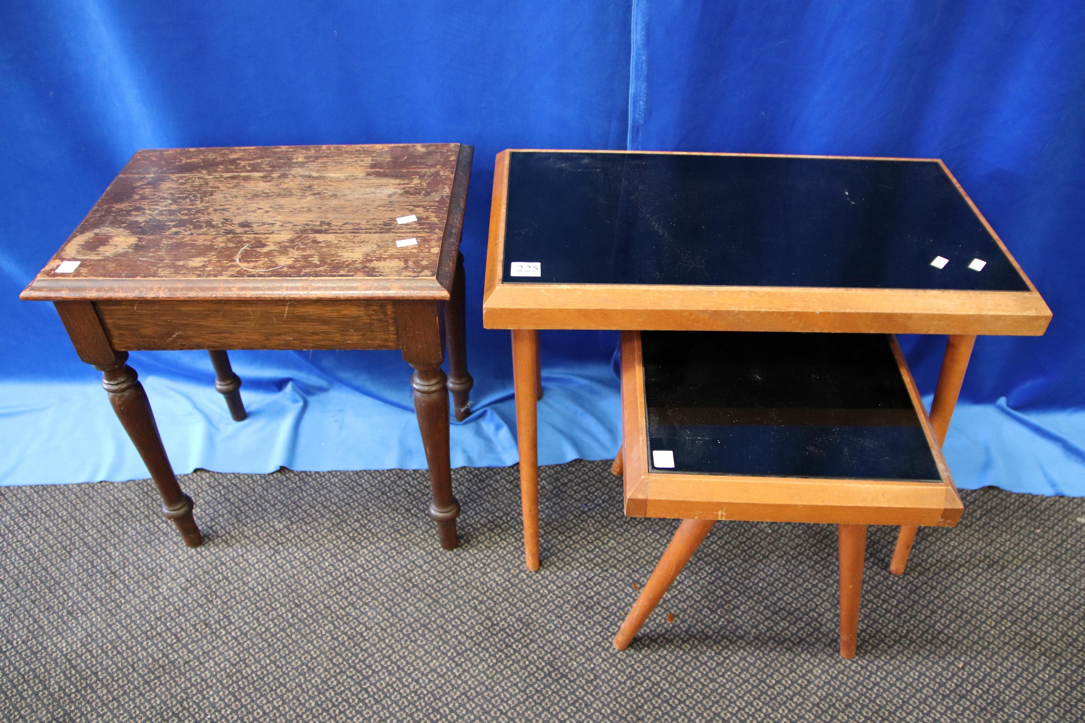 3 SIDE TABLES -2 WITH GLASS TOPS