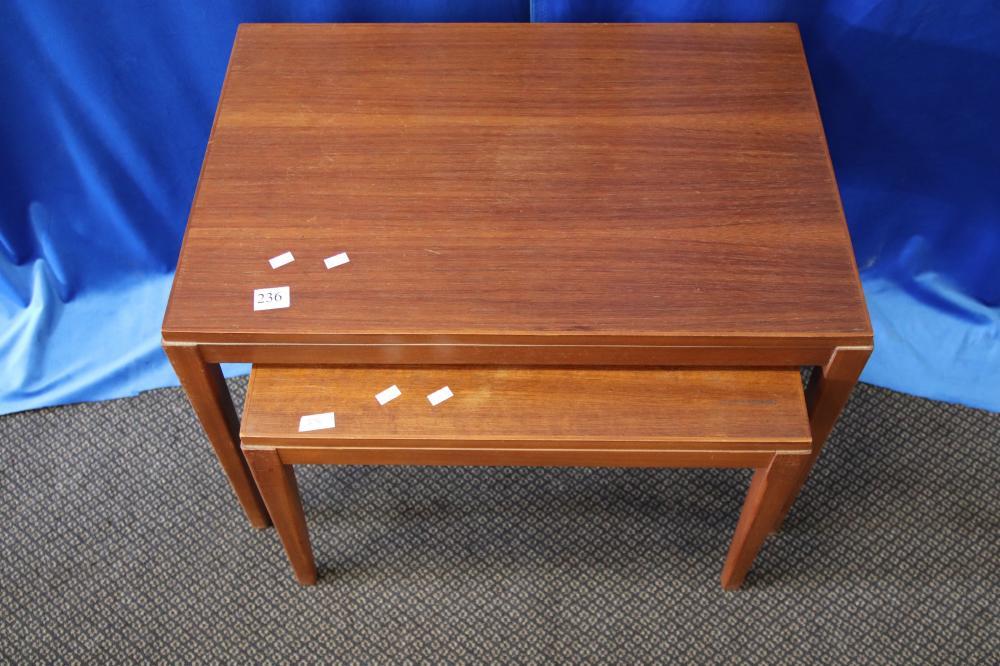 2 MID CENTURY TEAK SIDE TABLES