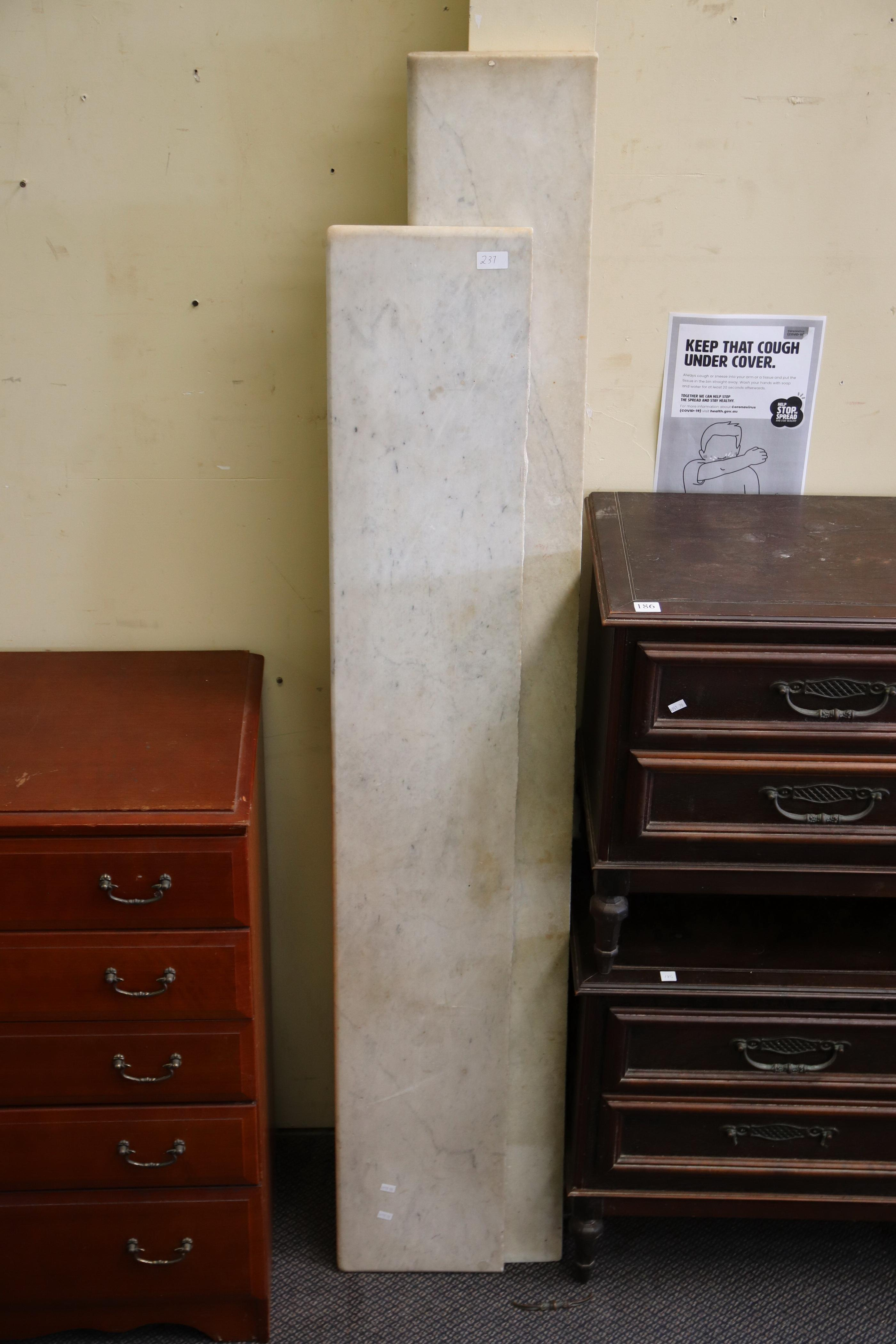 2 MARBLE PIECES/STAIR TOPS