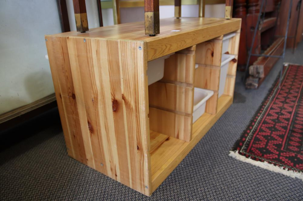STORAGE UNIT MADE FROM PINE WITH PLASTIC DRAWERS