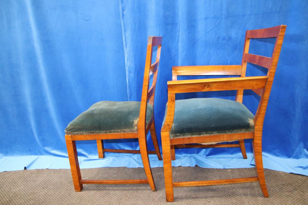 8 ART DECO WALNUT DINING CHAIRS