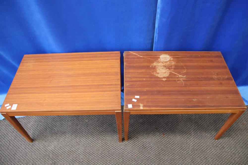 2 MID CENTURY TEAK SIDE TABLES AS FOUND