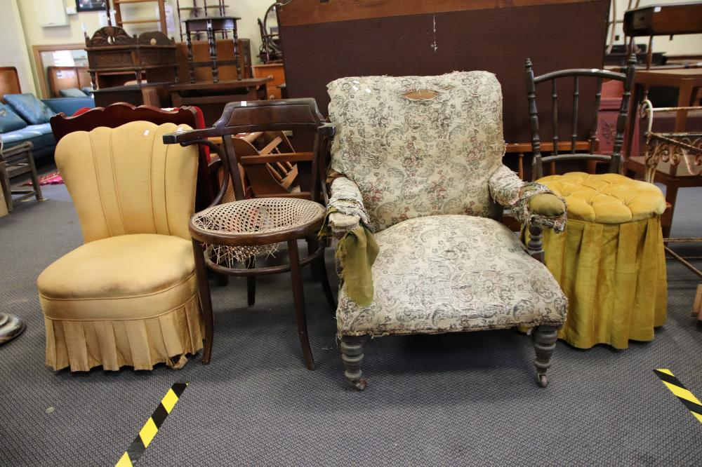 ARMCHAIR AS FOUND , SLIPPER CHAIR & 2 BENTWOOD CHAIRS AS FOUND