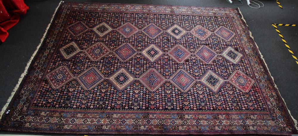 LARGE HAND KNOTTED FLOOR RUG, BLUE MEDALLION PATTERN, MEASURES 350CM X 400CM