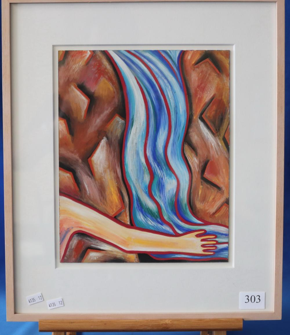 HOLLIE UNTITLED ( REDIRECTING THE WATERFALL 1993 ACRYLIC ON BOARD 29.5 X 23.6