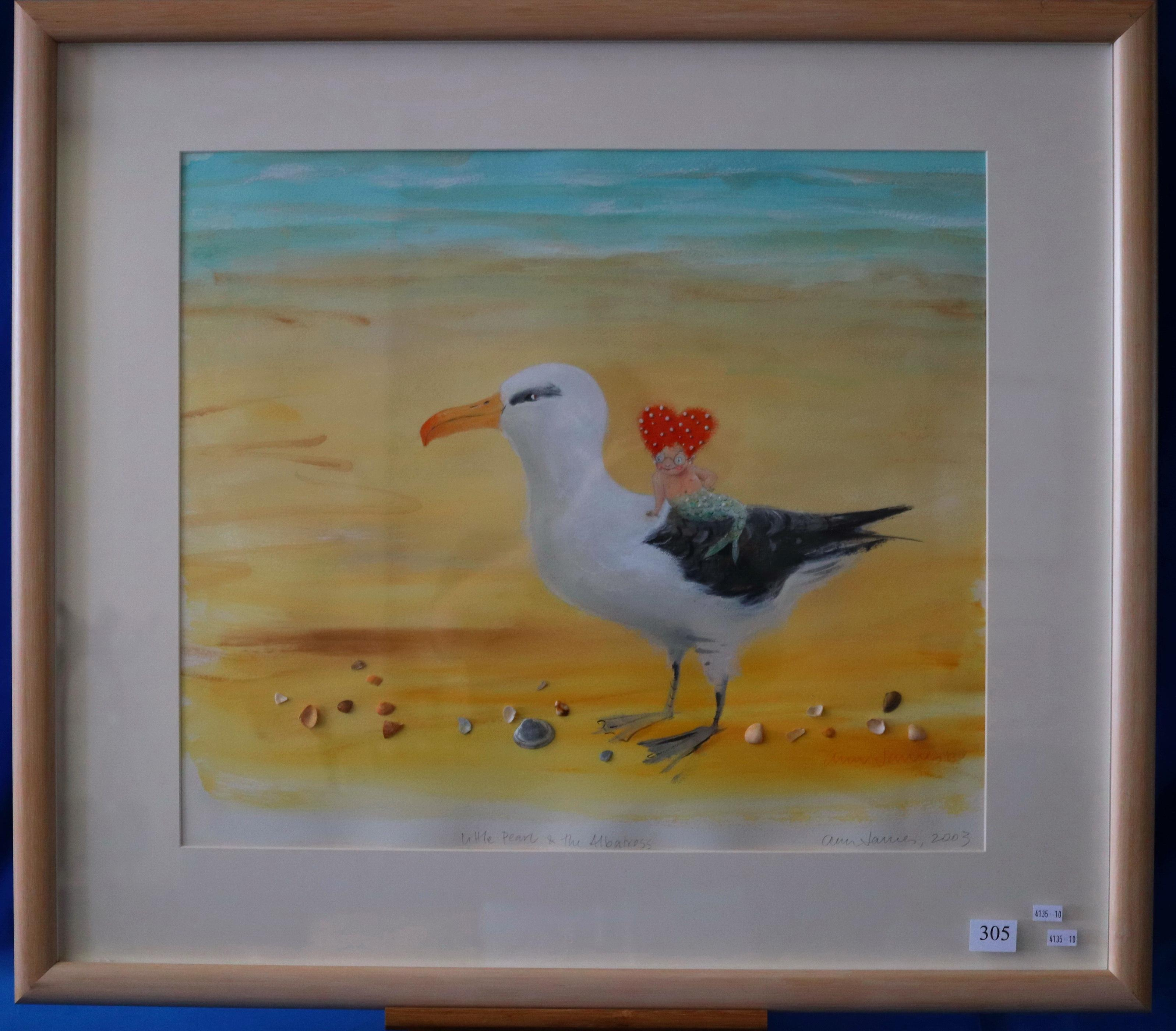 ANN JAMES LITTLE PEARL AND THE ALBATROSS 2003 PASTEL, WATERCOLOUR AND SHELLS ON PAPER 50.5 X 60
