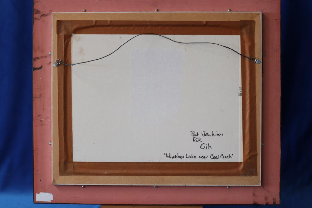 PATRICIA JENKINS WIVENHOE LAKE NEAR COAL CREEK 1988 OIL ON HARD BOARD 39.2 X 49.4