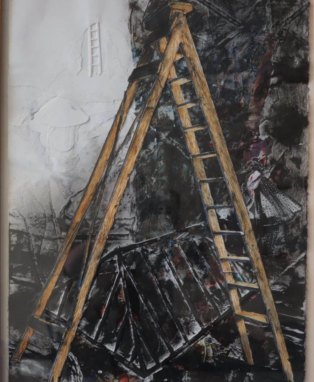 BRUCE REYNOLDS ROOFTOP C1990 MIXED MEDIA ON PAPER 76 X 57.5