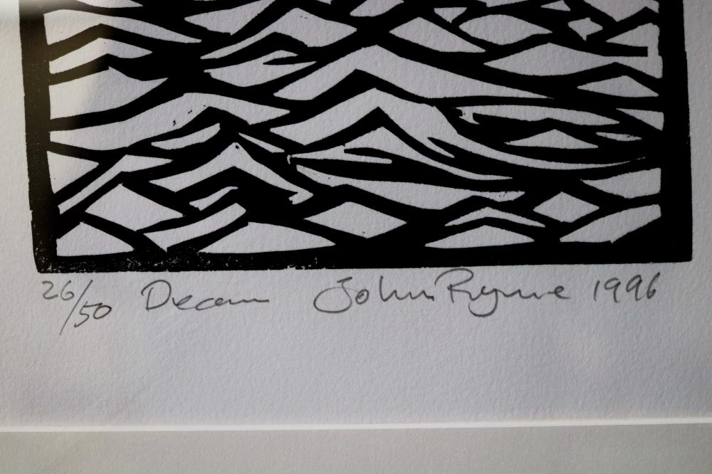 JOHN RYRIE DREAM 1996 WOODBLOCK PRINT ON PAPER 59.5 X 18