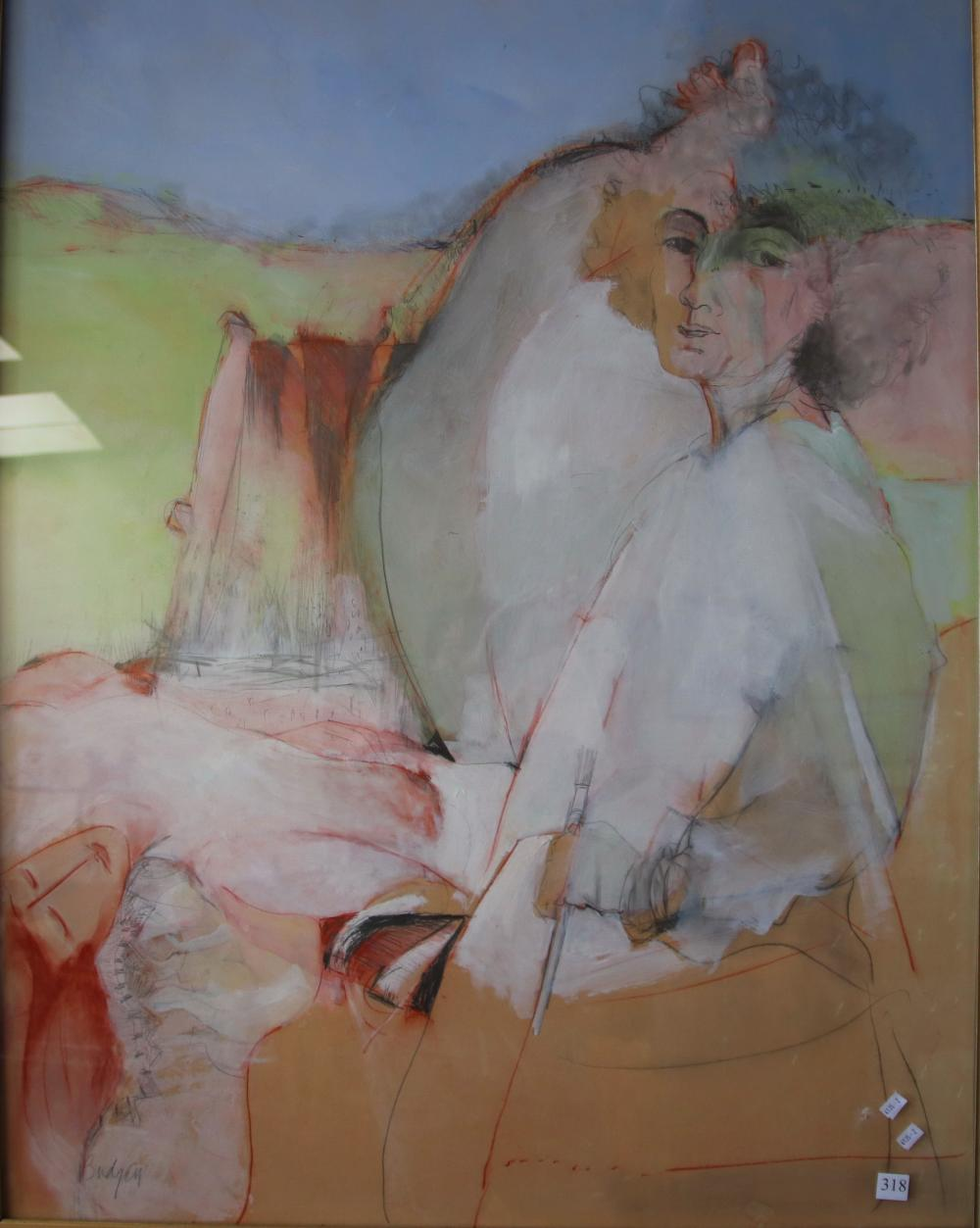 BEVERLEY BUDGEN THE PAINTER AND THE PAINTING C1980 PENCIL, PASTEL & ACRYLIC ON HARD BOARD 120 X 89.5