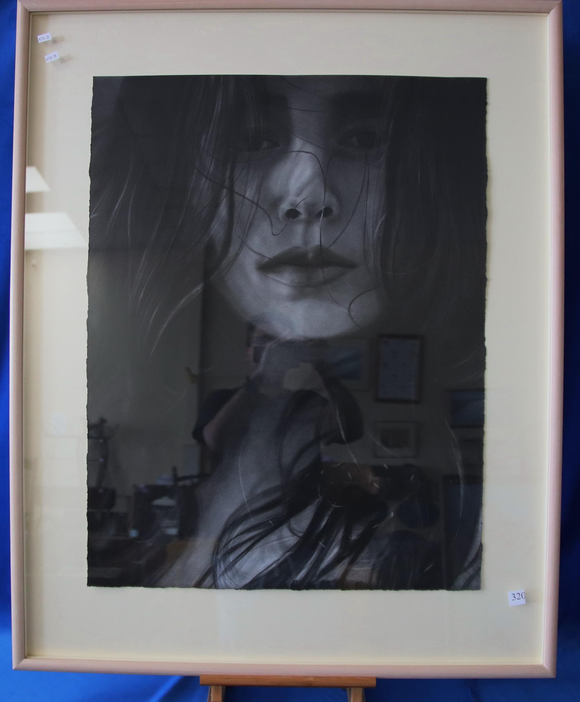 LUCINDA ELLIOTT BLACK EYES 1991 CHARCOAL ON PAPER 84 X 64.9
