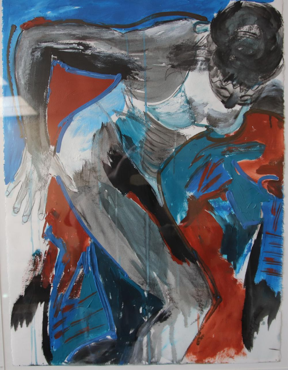 MARGARET GOLDSMITH WOMAN IN ACTION 1993 ACRYLIC AND MIXED MEDIA ON PAPER 76 X 56.5