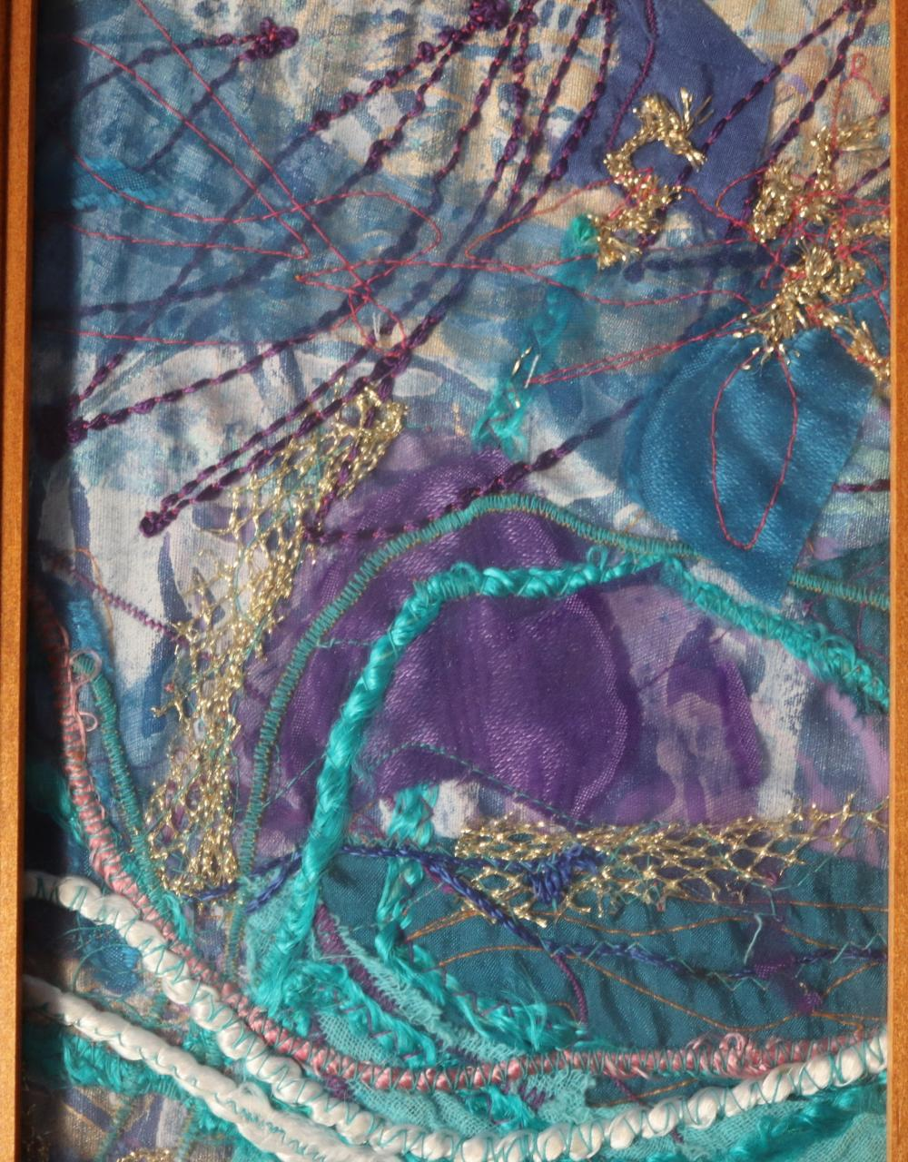 KATHY MACKEY MINOSA DAWN 11 1994 DYED AND PRINTED COTTON AND EMBROIDERY THREAD