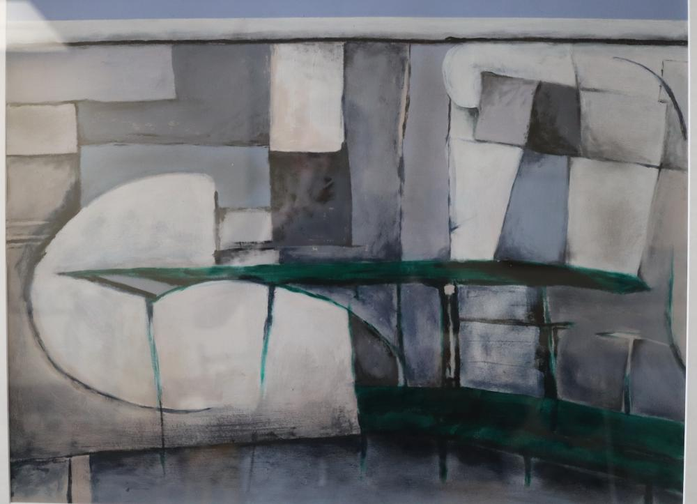JUSTIN BISHOP GREEN STRUCTURE AND WALL ( BUS STOP) 2001 ACRYLIC , CHARCOAL AND GOUACHE ON PAPER 51 X 69
