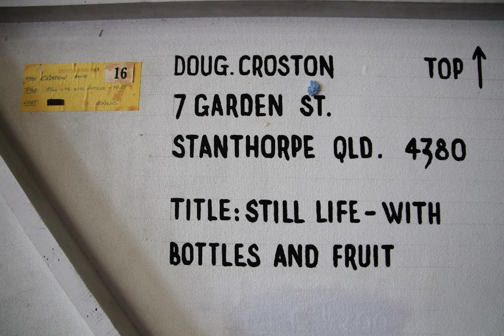 DOUG CROSTON STILL LIFE WITH BOTTLES AND FRUIT 1972 ACRYLIC ON HARDBOARD 114.3 X 91.6