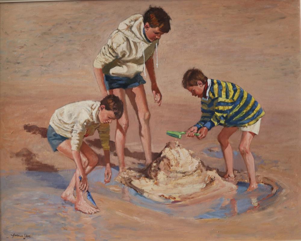 HAROLD LANE BEACH BOYS OIL ON CANVAS BOARD 59 X 74