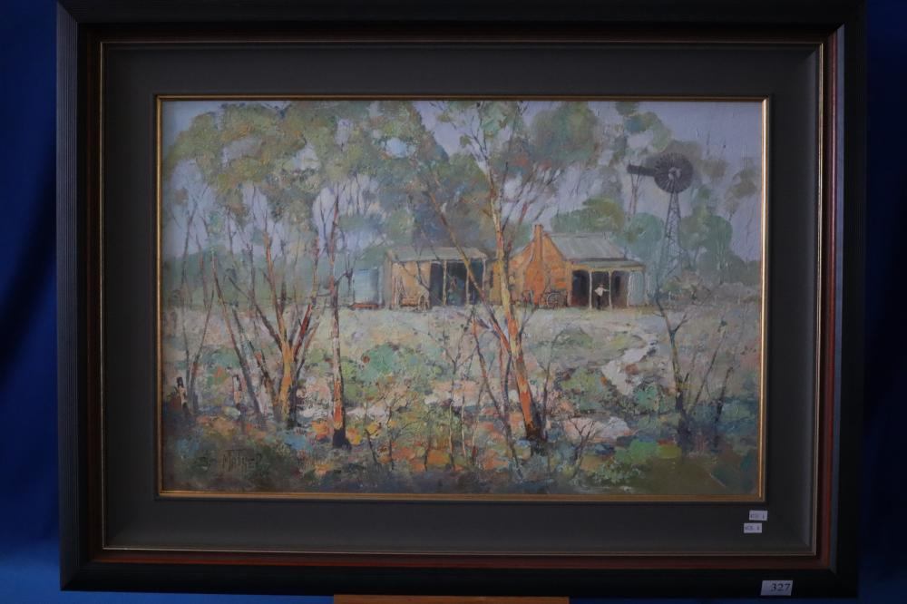 SYD MATHER AT WILLI PARSON'S FARM UNDATED OIL ON CANVAS BOARD 50.8 X 76.2