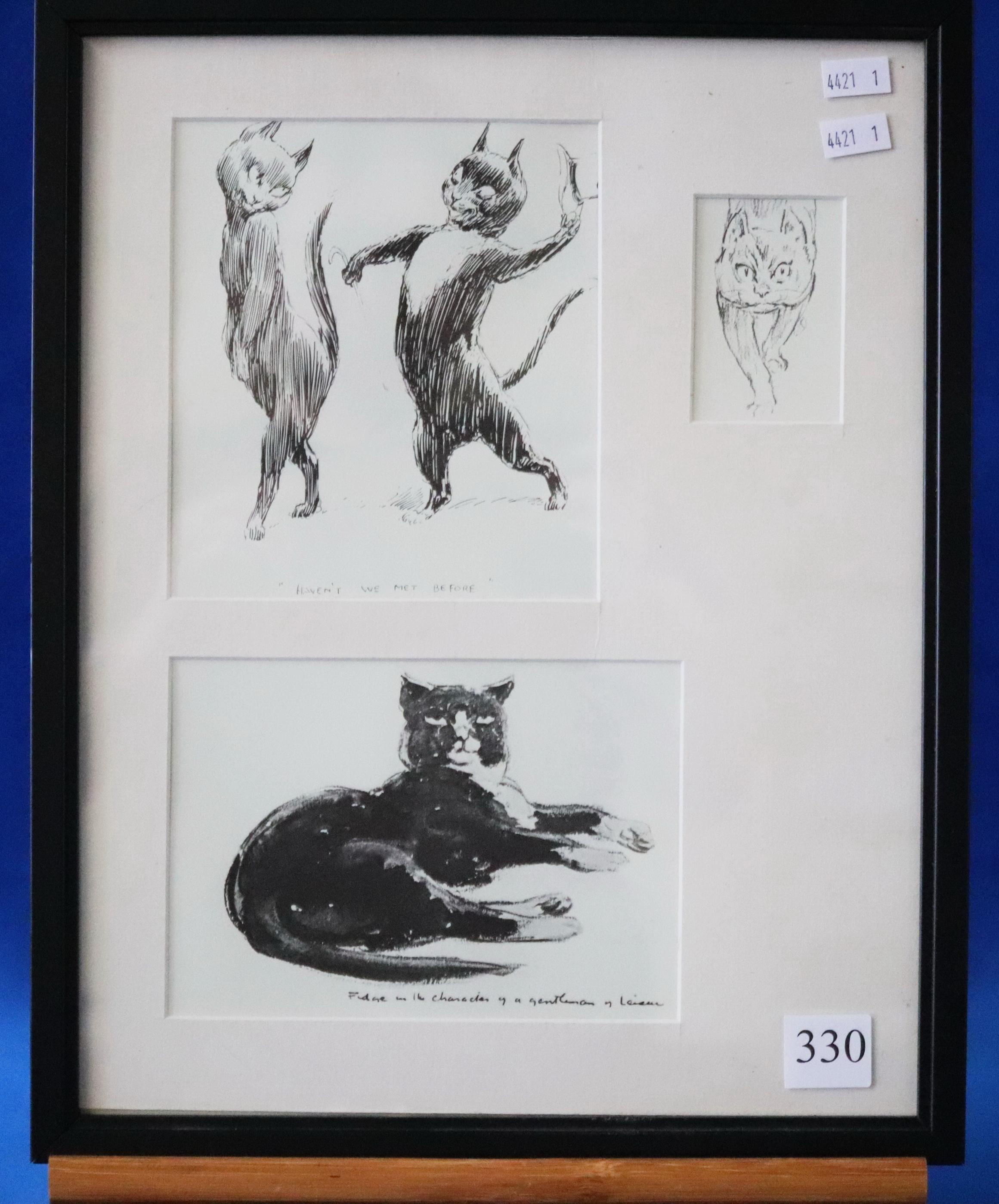 NORMAN LINDSAY'S BOOK PLATE PRINT TRIO OF CATS SEE REAR