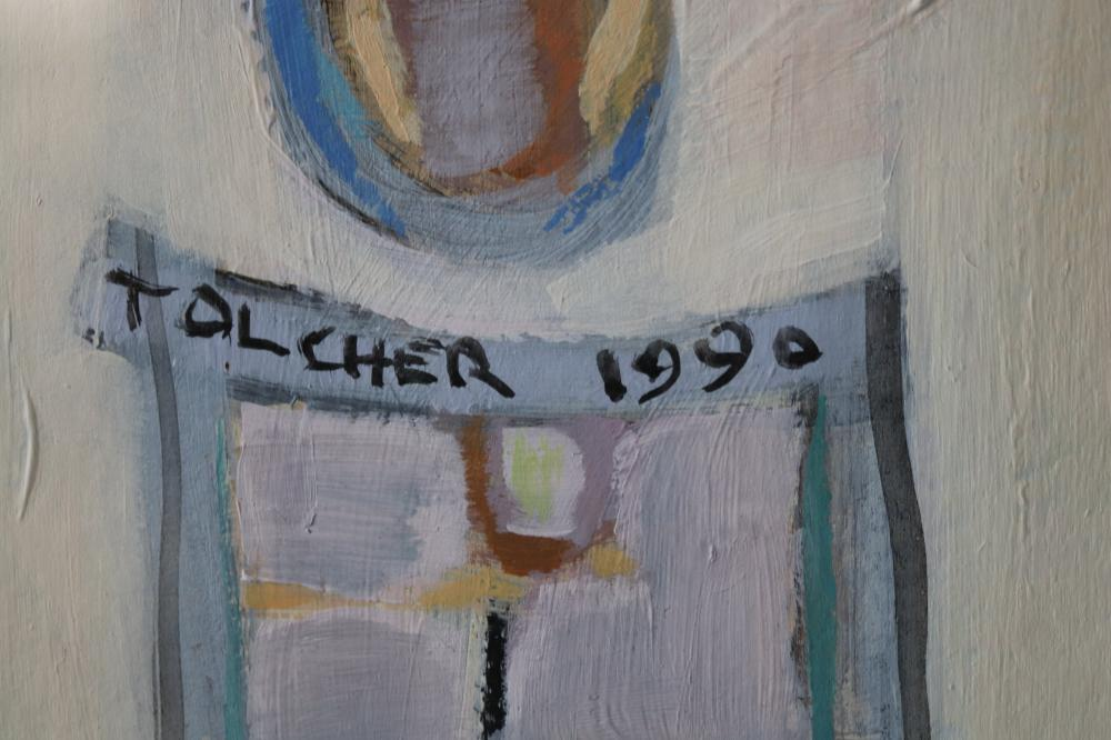 PAT TOLCHER TOTEMIC RITUAL 1991 ACRYLIC ON CARDBOARD 82.5 X 55.7