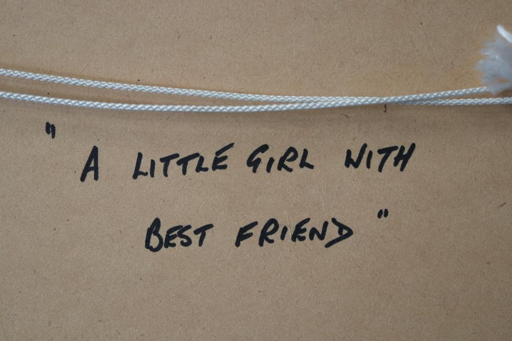 A LITTLE GIRL WITH BEST FRIEND PRINT 51 X41 O/A