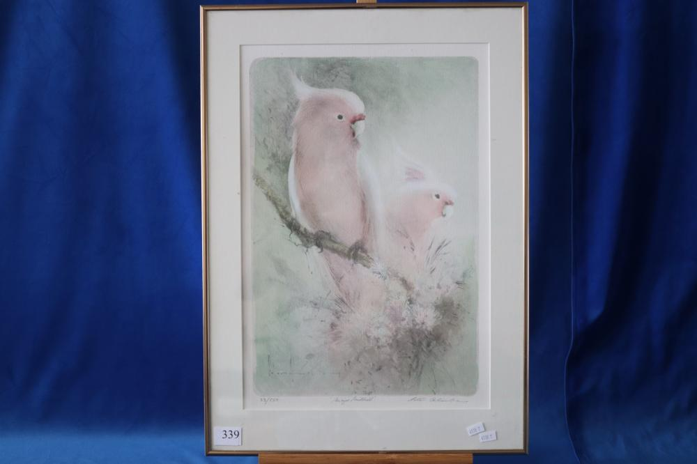LITHOGRAPH OF GALAHS BY PETER ABRAHAMS 33/550 MAJOR MITCHELLS