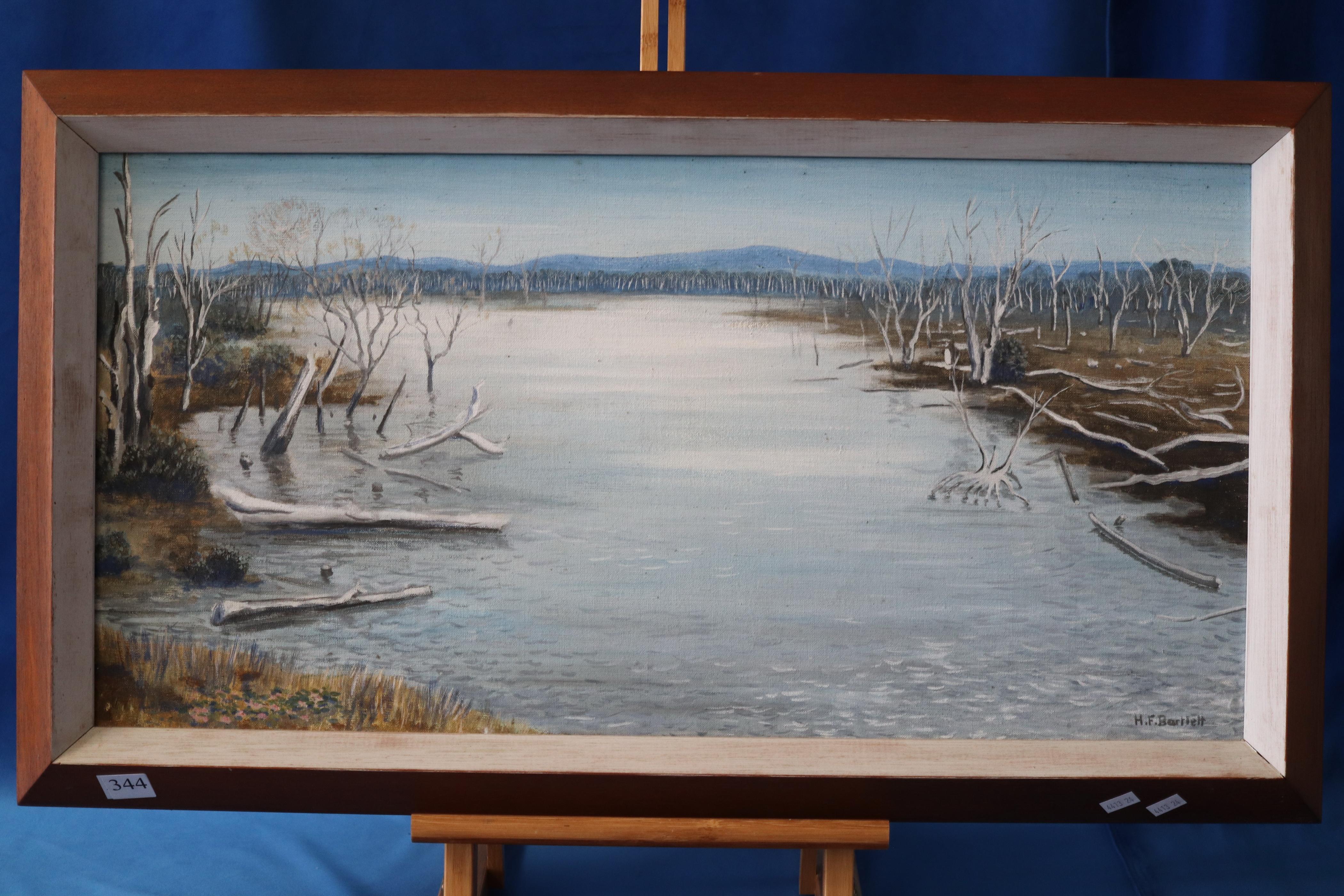OIL ON CANVAS OF DAM SCENE BY HENRY BARLETT